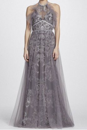 Marchesa Notte Silver Halter Embroidered Grey Sequins Dress