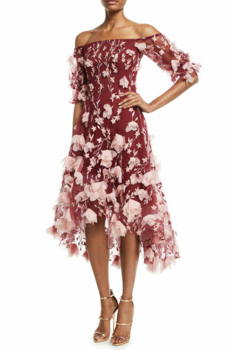 Marchesa Off Shoulder 3D Floral High Low Wine Pink Dress