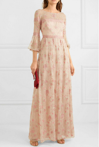 Marchesa Lace Trim Embroidered Blush Dress