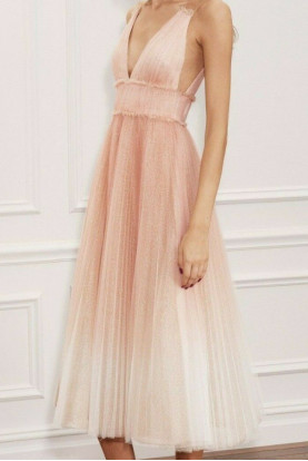 Marchesa Notte Ombre Pleated Tulle Tea Length Blush Pink Dress