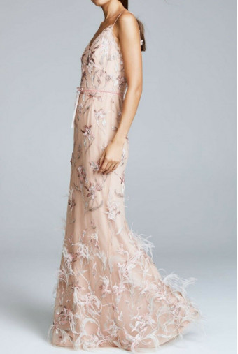 Marchesa Notte Embroidered Blush Nude Feathers Dress