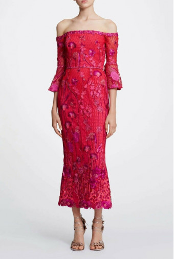 Marchesa Off Shoulder Guipure Embroid Fuchsia Red Dress