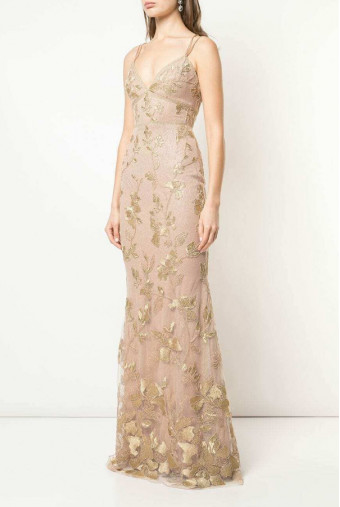 Marchesa Floral Metallic Gold V Neck Embroidered Dress