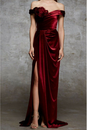 Marchesa Off-Shoulder Appliqued Velvet Burgundy Dress