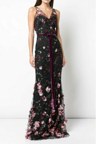 Marchesa Notte Embroidered Trumpet 3D Flowers Black Dress