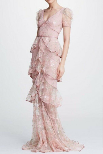 Marchesa Embroidered Ruffle Blush Tiered Gown Pink Dress