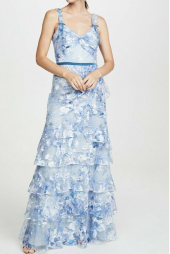 Marchesa Notte Tulle Printed Tiered Gown Blue Embroidered Dress