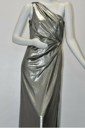 Marchesa One-Shoulder Pleated  Silver Grey Dress