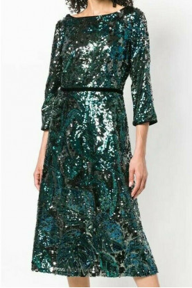 Marchesa Sequin Tea Peacock Green Blue Velvet Midi Dress