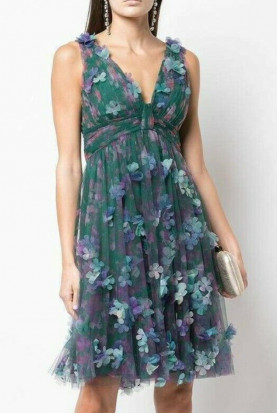 Marchesa Notte 3D Flower V-Neck  Green Cocktail Dress