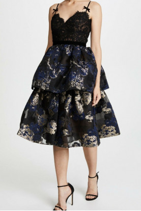 Marchesa Notte Two Tiered Gold Brocade Black Lace Cocktail Dress