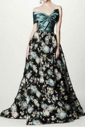 Blue Strapless Jacquard Brocade Green Black Gold Dress