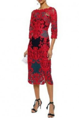 Marchesa Guipure Lace Red Blue Embroidered Midi Dress