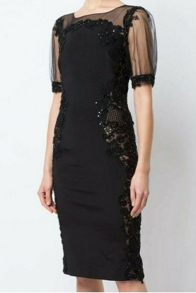 Marchesa Notte Fitted Beaded Illusion Black  Embroidered Dress