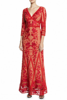 Marchesa Notte Guipure Lace V-Neck Red Embroidered Dress