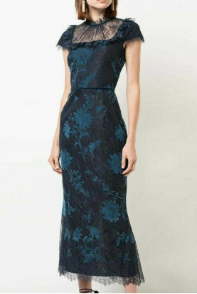 Marchesa Notte Cap Sleeve Floral Lace Midi Navy Teal Fitted Dress
