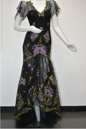 Marchesa Notte High Low Illusion Tulle Black Purple Green Dress