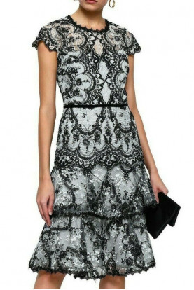 Marchesa Notte Corded Lace Embroidery Velvet Black White Dress