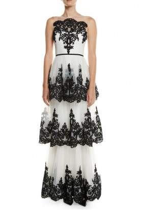 Marchesa Notte Embroidered 3 Tier Illusion Ivory Black Lace Dress