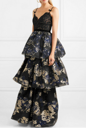 Marchesa Notte Tiered Corded Lace Brocade Black Navy Gold Dress