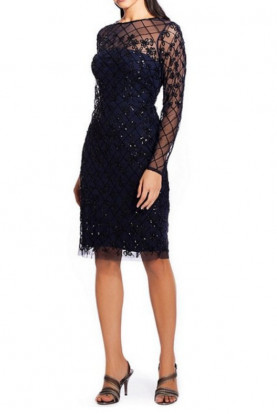 Adrianna Papell Long Illusion Sleeve Beaded Sheath Dress