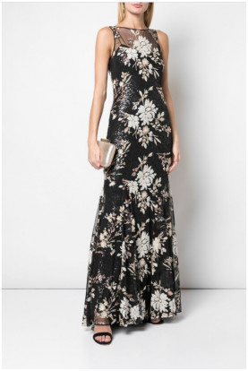 Badgley Mischka Couture Sequin Empire Line Gown Black Multi  Formal Gala