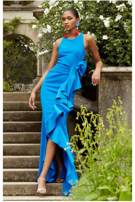 Badgley Mischka Couture V-neck Sleeveless Side-ruffle Gown Blue