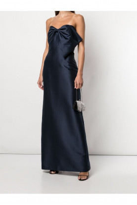 Badgley Mischka Couture Strapless Mermaid Gown Ruched Bodycon Bow  Gala